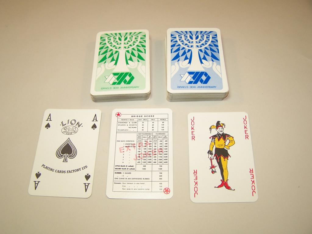 "Double Deck Lion Playing Card Factory Playing Cards, ""Israel 30th Anniversary,"" USPC/Arrco Joker, c.1978"