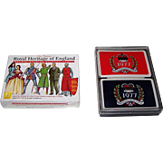 "2 Double Decks British Royalty Cards, $15/ea.: (i) Carta Mundi ""Royal Heritage of England,"" Heritage Toy and Game Co. Publisher, c.1995; (ii) ""The Queen's Silver Jubilee,"" c.1977"
