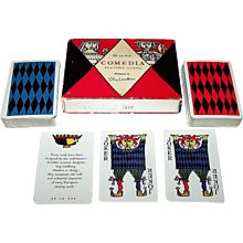 "Double Deck De la Rue ""Comedia"" Playing Cards, Stig Lindberg Designs, 1930"