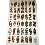 "Viassone ""Tarocco Bolognese"" Uncut Sheet Tarot Cards, Partial Set (41/62), c.1930-1950"