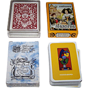 "4 Decks Non-Standard Cards, $15/ea.: (i) Lion ""Jacob's Bible Cards,"" c.1965; (ii) Editions Dusserre ""Costumes Alsaciens,"", c.1980; (iii) ""Heidelberg,"" Maker Unknown; and (iv) ""Renaissance Playing Cards,"" Maxim Hurwicz Designs"