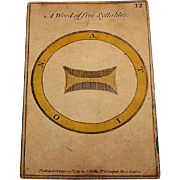 "Single Card, John Wallis Hand Colored ""Riddle"" No. 12, c.1789"