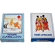 "2 Decks Modiano Poker Playing Cards, $15 ea.: (i) ""Poker Carillon,"" Mariella Polli Designs, c.1997; (ii) ""Special Poker Tribù Africane"" (""African Tribe"") Playing Cards (52/52, NJ, 1EC), c.1970"