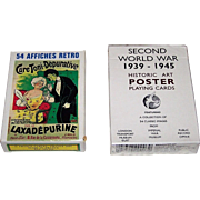 """2 Decks Poster Art Playing Cards, $15/ea.: (i) Grimaud """"54 Affiches Retro,"""" c.1991; and (ii) Phillip Lewis Agencies """"Second World War 1939-1945,"""" c. 1992"""