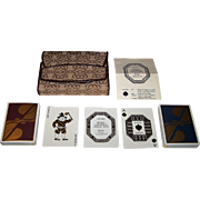 """Double Deck Fournier """"Loewe"""" Playing Cards, Custom Suede/Leather and Fabric Loewe Case, Margot Hamilton Hill Designs, c.1970"""