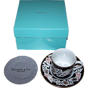 Tiffany China Demitasse Cup and Saucer Set, Playing Card Theme, w/Original Box and Cleaning Cloth