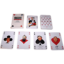 "Piatnik ""Freizeit Kurier Politiker"" Schnapskarten Playing Cards, Austrian Politicians, Altered Pips, c.1990"