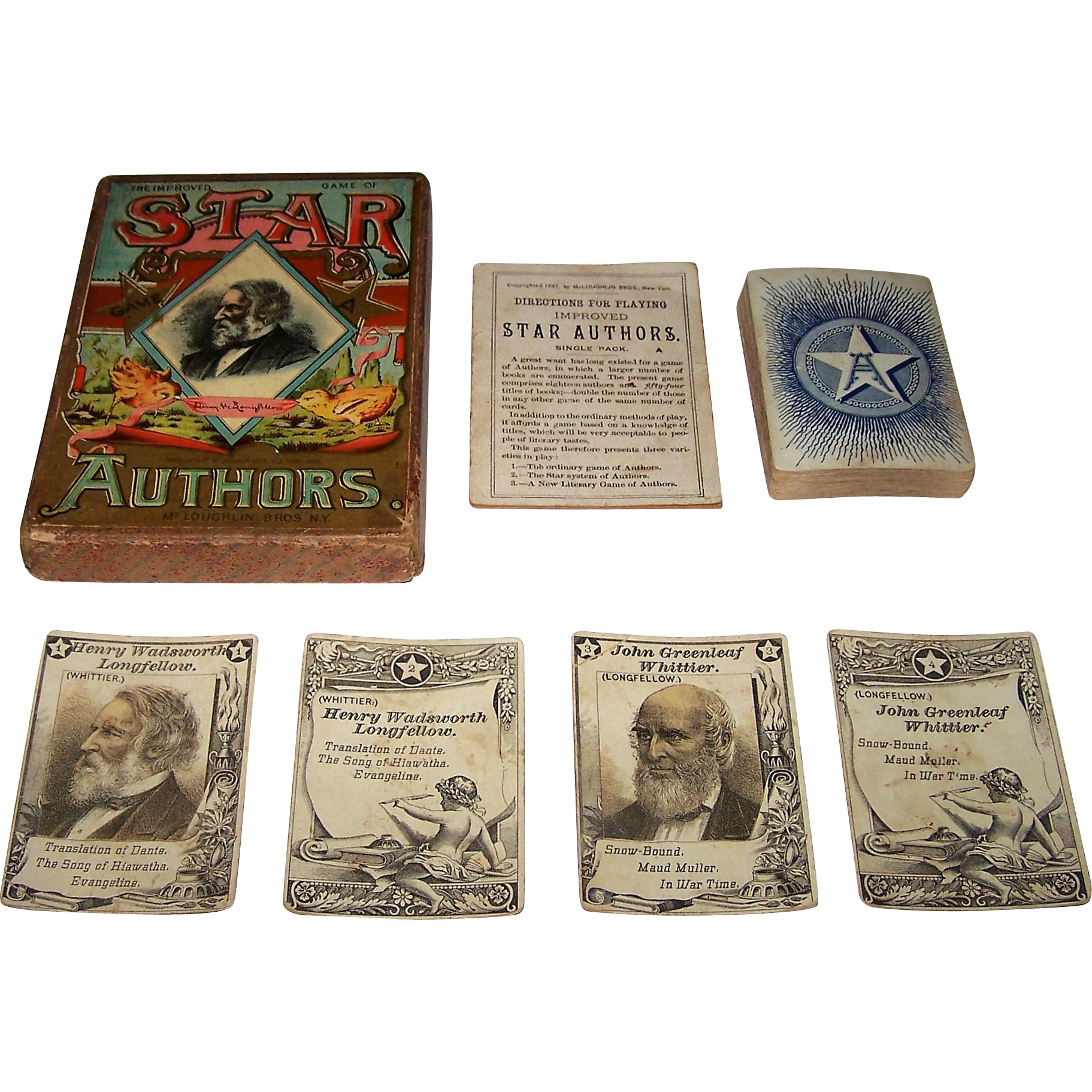 """McLoughlin Bros. """"The Improved Game of Star Authors"""" Card Game, c.1888"""