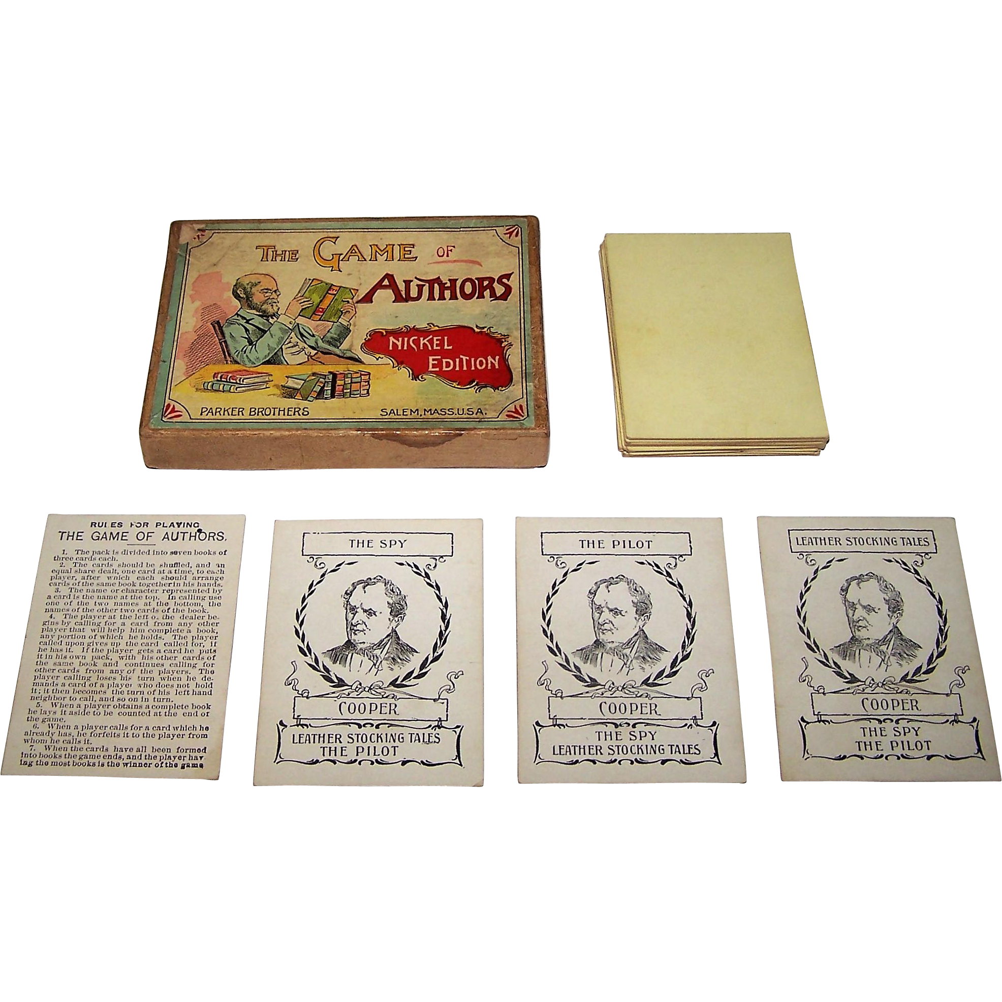 """Parker Brothers """"The Game of Authors"""" Card Game, Nickel Edition, c.1896"""