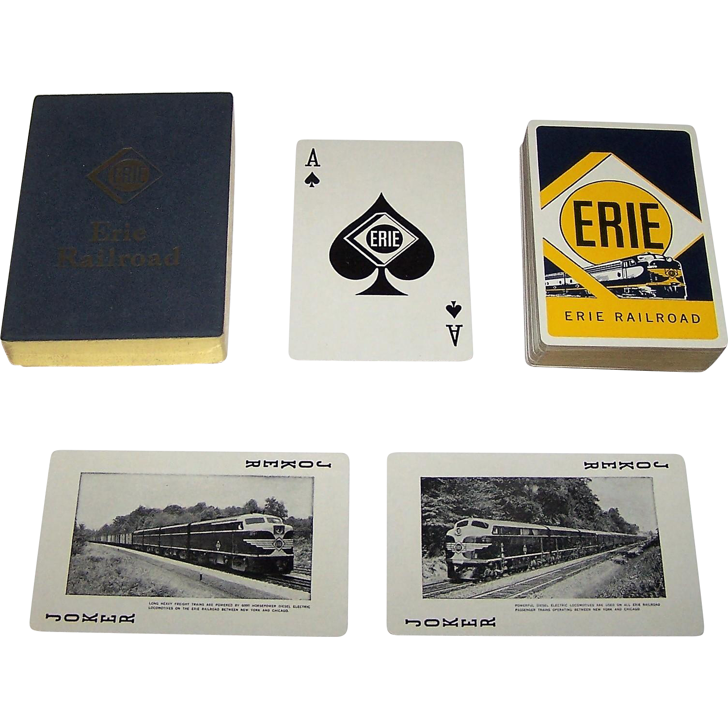 """Brown & Bigelow """"Erie Railroad"""" Railroad Playing Cards, c. 1955"""