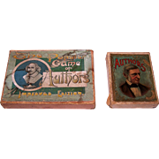 "2 (Incomplete) Antique ""Game of Author"" Card Game Sets, $15/ea.: (i) J.W. Spears ""The Popular Game of Authors, Improved Edition"" (35/36 Cards), c.1890; (ii) Unknown Maker ""Authors"" (20/42 Cards?), c.1890"