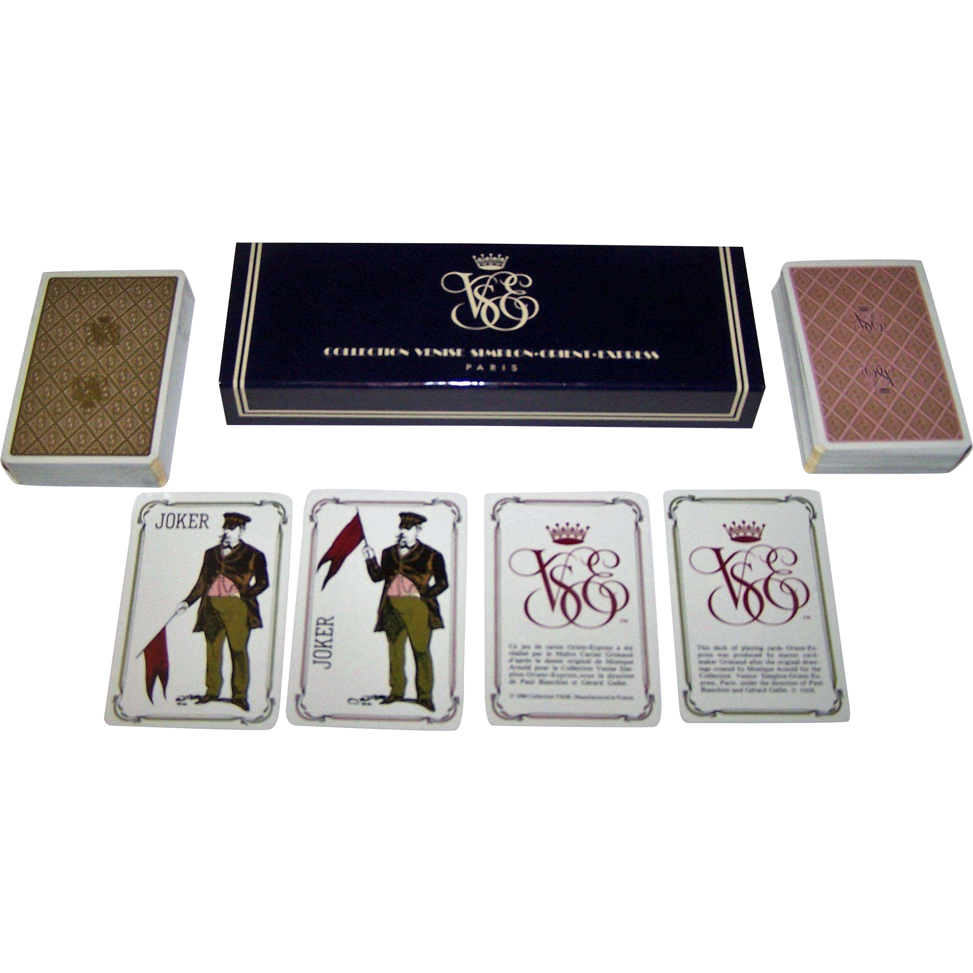 """Double Deck Grimaud """"Collection Venise Simplon-Orient Express Playing Cards,"""" Gerard Gallet Designs, c.1984"""