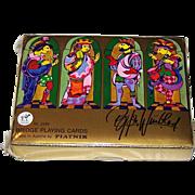 """Double Deck Piatnik """"Bjorn Winblad"""" Playing Cards, Bjorn Wiinblad Designs, c.1976"""