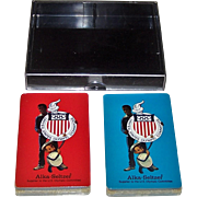 """Double Deck Gemaco """"Alka Seltzer U.S. Olympic Committee"""" Playing Cards, 1980 Lake Placid Winter Olympics, """"Speedy"""" and Sammy Davis, Jr., c.1979"""