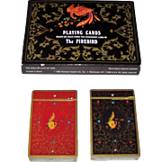 """Double Deck Fournier """"The Firebird"""" Playing Cards, Lucy Maxym """"Russian Lacquer, Legends, and Fairy Tales,"""" Yury Shakov Designs, c.1984"""