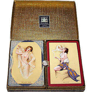 """Double Deck Goodall Boudoir """"The Kiss"""" and """"The Lace Shawl"""" Pin-Up Playing Cards, Raphael Soyer Designs, c.1926"""