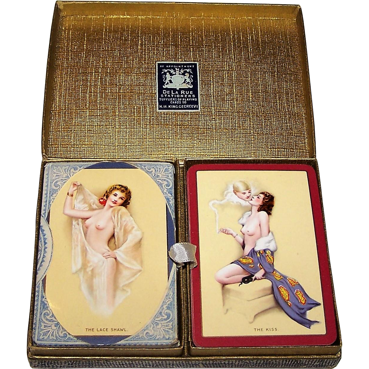 "Double Deck Goodall Boudoir ""The Kiss"" and ""The Lace Shawl"" Pin-Up Playing Cards, Raphael Soyer Designs, c.1926"