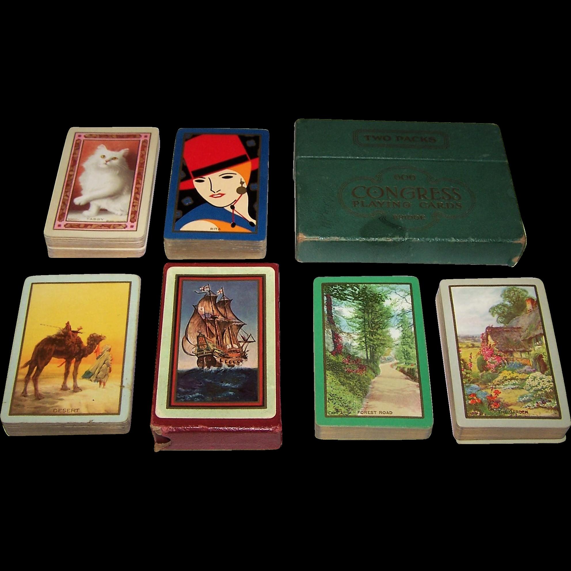 "6 Decks Jokerless USPC Congress 606 Playing Cards (52/52, NJ), $10/ea.: ""Tabby"" (No Box); ""Rita"" (No Box); ""Desert"" (No Box); ""The Search""; ""The Garden""; ""Forest Road"""