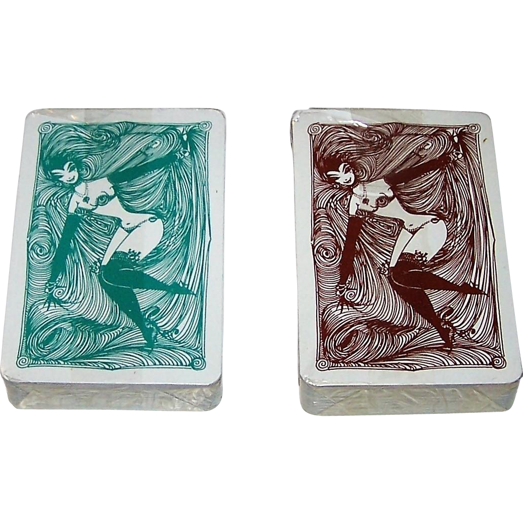"""Twin Decks Coeur """"Cherie"""" Pin-Up Playing Cards, Hans and Luise Neupert Designs, c.1965"""