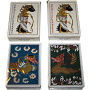 "Twin Decks Grimaud (France Cartes) ""Marionettes Wayang"" Playing Cards, Youdi des Aubrys Designs, c.1985, $25/ea."