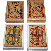 "Twin Decks Grimaud (France Cartes) ""Jeu de l'An 2"" Playing Cards, [Original Printed 1795 by Mouton] Reprint c.1969, $15/ea."