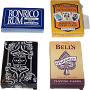 "4 Decks Alcoholic Beverages Advertising Playing Cards, $10/ea.: (i) ""Ronrico Rum,"" Maker Unknown; (ii) USPC ""Cutty Sark – The Real McCoy,"" c.1994; (iii) ""Kraken Rum,"" Maker Unknown; and (iv) Carta Mundi ""Bell's,"" 2006"