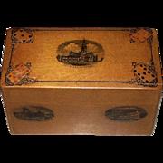 """Mauchline Ware """"Bezique"""" Set w/ Mauchline Bezique Counters, c.1860-70 [De la Rue Bezique Cards Added, c.1920]"""