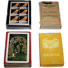 "4 Decks Airline Cards, $10/ea.: (i) ""Continental Golden Jet,"" Maker Unknown; (ii) Ormond ""Irish Air Lines""; (iii) La Cubana ""Mexicana""; and (iv) Fournier ""Iberia"""