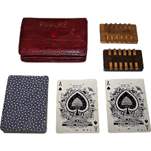 """NYCC """"Bee 92"""" Pinochle Set, w/ Antique Wood Pinochle Counters, Custom Case, c.1900"""