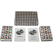 """Double Deck Waddington's """"Siriol Clarry"""" Playing Cards, Siriol Clarry """"Four Elements"""" Designs, c.1964"""