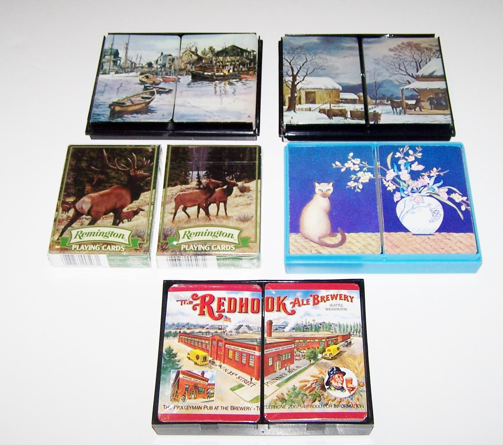 "5 Double Decks ""Put Together"" Playing Cards $15 ea: (i) Hoyle (""Barrymore""); (ii) Brown & Bigelow (""Winter Scene""); (ii) USPC (""Remington""); (iv) Hoyle (""Cat and Vase""); and (v) Gemaco (""Red Hook Brewery"")"