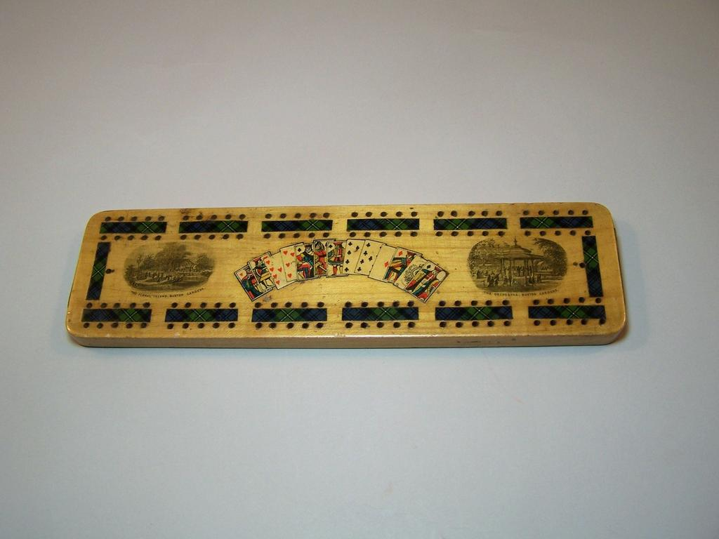 Mauchline Ware Cribbage Board – Transfer, Tartan, and Hand-Colored Lithograph Finishes, c.1860