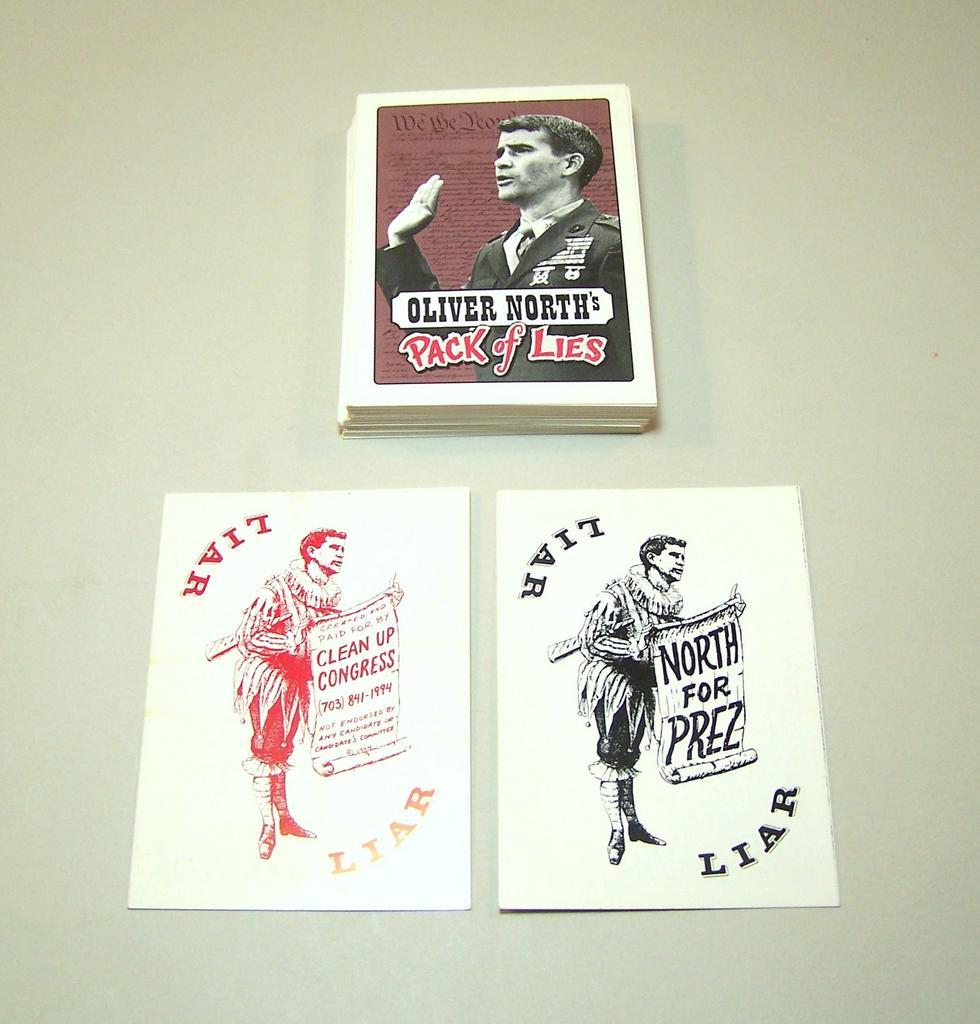 """Oliver North Pack of Lies"" Playing Cards, Created by ""Clean Up Congress,"" c.1994"