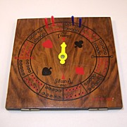 Pavey Circular Wood Cribbage Board w/ Trump Indicator, c.1943