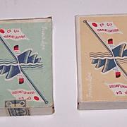 """Twin Decks Ets. Mesmaeker Freres """"Compagnie Générale Transatlantique"""" Maritime Playing Cards, c.1950"""