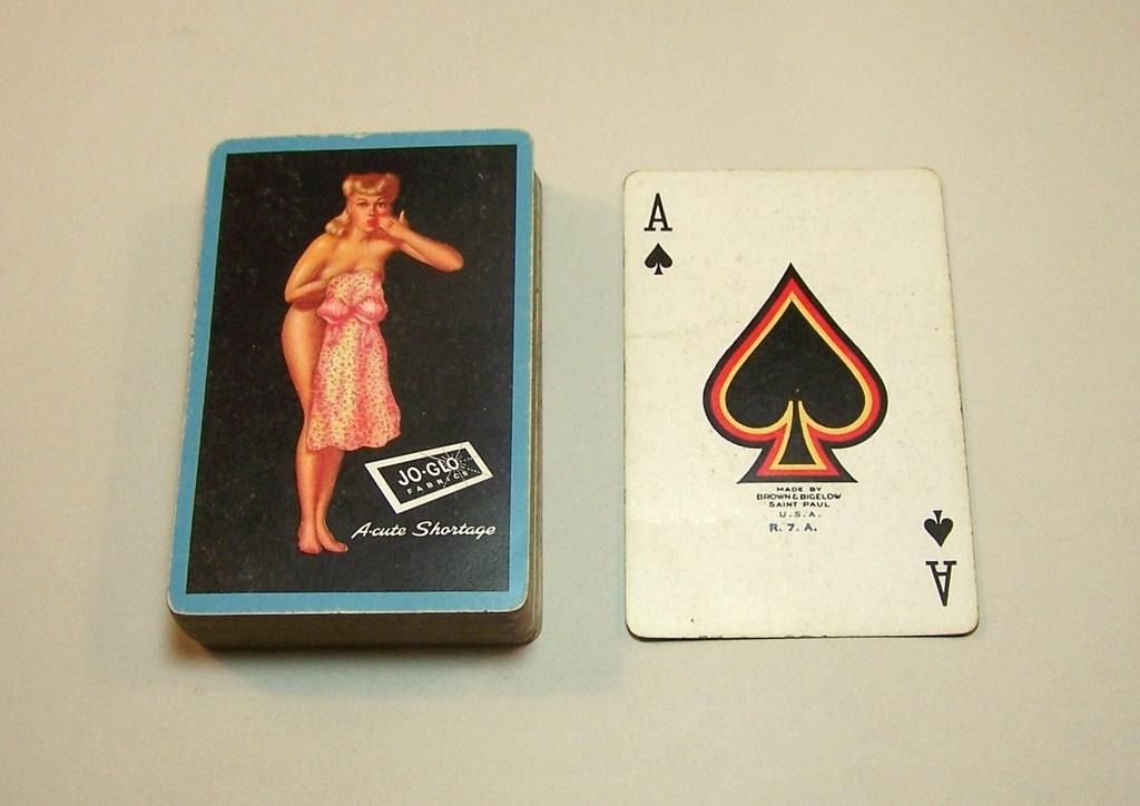 "Brown & Bigelow ""Acute Shortage"" Pin-Up Playing Cards, ""Jo-Glo Fabrics"" Adv., Earl Moran Designs, c.1950s"