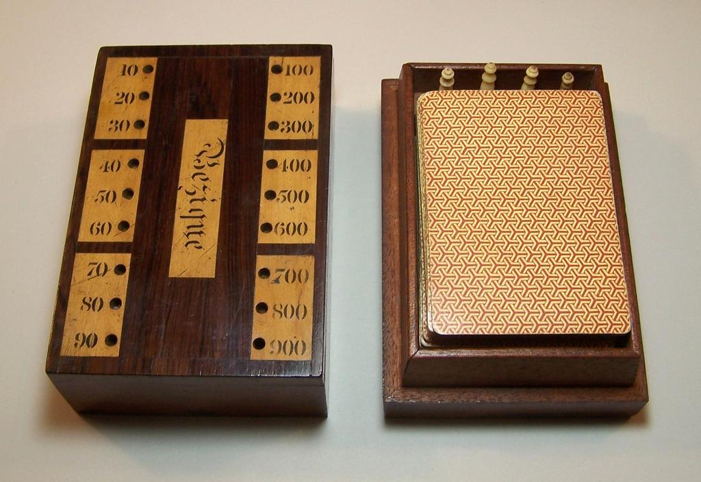 Bezique Card Box, Including Counters, w/ 2 Period Bezique Decks, c.1870