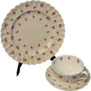 Spode China - Dimity Pattern, Set of 10 Salad Plates, Cups, and Saucers