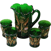 Cambridge Emerald Green Inverted Thistle Pitcher and Tumbler Set