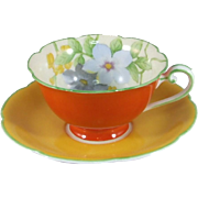 Noritake Demitasse Cup and Saucer in Floral and Orange