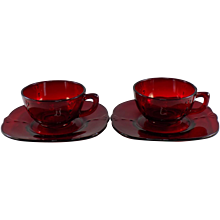 Paden City Crow's Foot Cup and Saucer, Set of 2, in Ruby