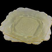 Indiana Glass Lorain Yellow Salad Plate, Set of 2