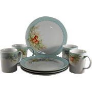 Set of Four Mugs and Plates with Fruit Motif
