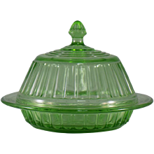 Hazel-Atlas New Century Covered Butter Dish in Green