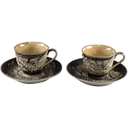 Occupied Japan Dragonware Demitasse Cup and Saucer, Set of 2