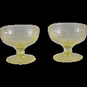 Hazel-Atlas Cloverleaf Sherbet in Yellow, Set of 2