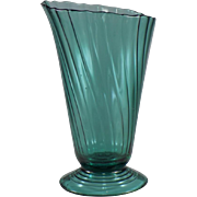 Jeannette Swirl Large Slant Top Footed Vase in Ultramarine