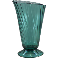 Jeannette Swirl Large Slant Top Footed Vase in Ultramarine