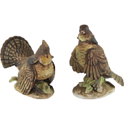 Lefton Pair Ruffled Grouse KW2668 Hand Painted Japan