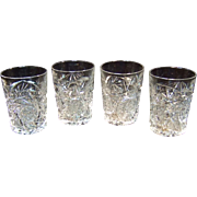 Clear Cut Glass Tumblers, Set of Four